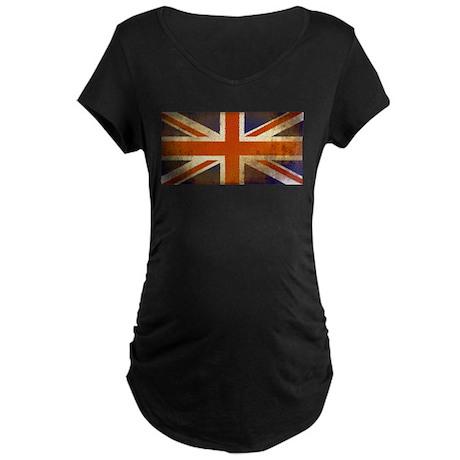 Grungy Union Jack Maternity Dark T-Shirt