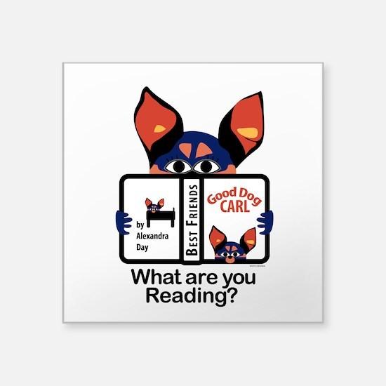 "Reading Dog Square Sticker 3"" x 3"""