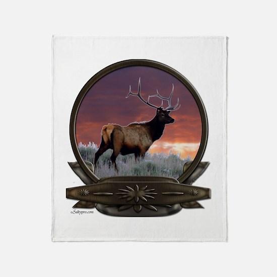 Bull elk at sunset Throw Blanket