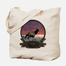 Bull elk at sunset Tote Bag