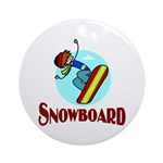 Snowboard Ornament (Round)