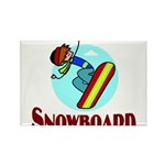 Snowboard Rectangle Magnet