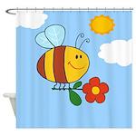 Bumble Bee Cartoon Shower Curtain