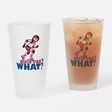 Pink Roller Derby Girl Drinking Glass