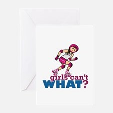 Pink Roller Derby Girl Greeting Card