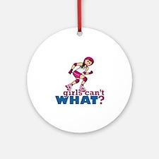 Pink Roller Derby Girl Ornament (Round)