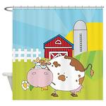 Cute Cartoon Cow Farm Shower Curtain