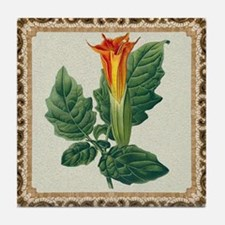 Antique Brugmansia Framed Pattern Tile Coaster