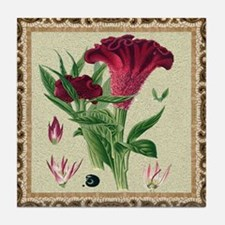 Antique Celosia Framed Pattern Tile Coaster