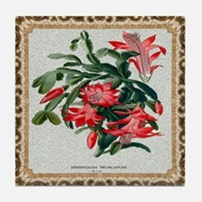 Antique Epiphyllium Framed Pattern Tile Coaster