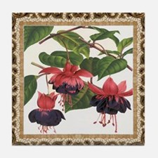 Antique Fuschia Framed Pattern Tile Coaster