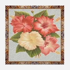 Antique Hibiscus Framed Pattern Tile Coaster