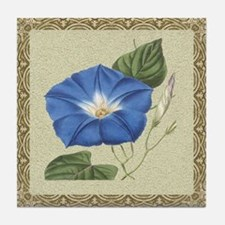 Antique Morning Glory Framed Pattern Tile Coaster