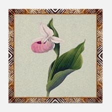 Antique Orchid Framed Pattern Tile Coaster