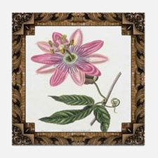 Antique Passion Vine Framed Pattern Tile Coaster