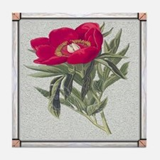 Antique Red Peony Framed Pattern Tile Coaster