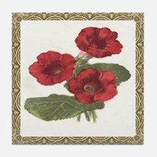 Antique Red Petunia Framed Pattern Tile Coaster