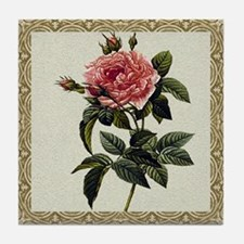 Antique Rose Framed Pattern Tile Coaster