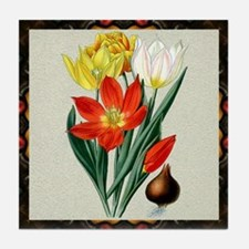 Antique Tulips Framed Pattern Tile Coaster