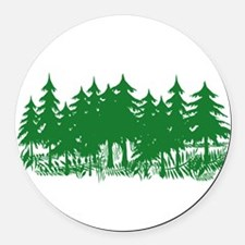 Trees Round Car Magnet