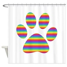 rainbow puppy paw print Shower Curtain