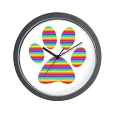 rainbow puppy paw print Wall Clock