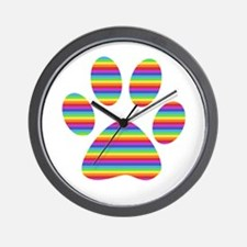 rainbow puppy paw print Wall Clock