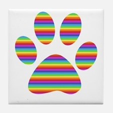 rainbow puppy paw print Tile Coaster