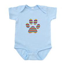 rainbow puppy paw print Infant Bodysuit