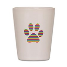rainbow puppy paw print Shot Glass