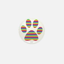 rainbow puppy paw print Mini Button (10 pack)