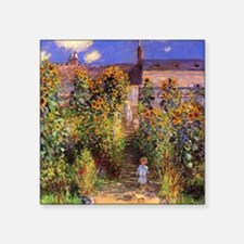 "Monet Seine Bank At Vetheuil Square Sticker 3"" x 3"