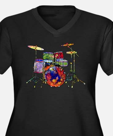Wild Drums Women's Plus Size V-Neck Dark T-Shirt