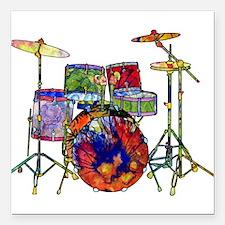 "Wild Drums Square Car Magnet 3"" x 3"""
