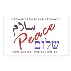 Peace (Arabic, English, Hebre Sticker (Rectangular