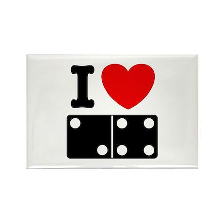 I Love Dominoes Rectangle Magnet