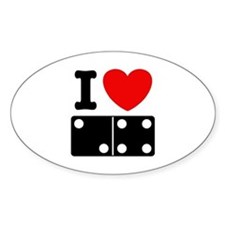 I Love Dominoes Oval Decal
