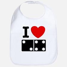 I Love Dominoes Bib