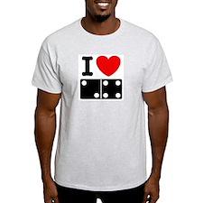 I Love Dominoes Ash Grey T-Shirt