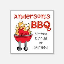 "Personalized BBQ Square Sticker 3"" x 3"""