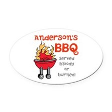 Personalized BBQ Oval Car Magnet