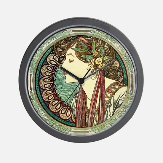 Alphonse Mucha Laurel Wall Clock