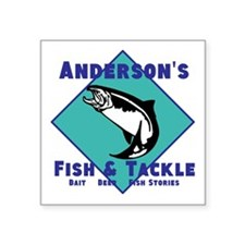 "Personalized fishing Square Sticker 3"" x 3"""
