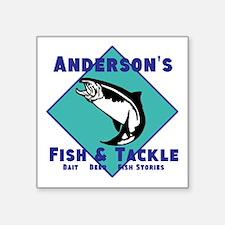 "Personalized fishing Square Sticker 3"" x 3"""