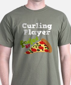 Curling Player Pizza T-Shirt