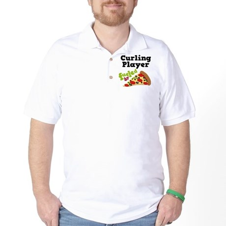 Curling Player Pizza Golf Shirt