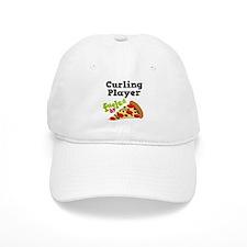 Curling Player Pizza Baseball Cap