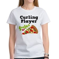Curling Player Pizza Tee