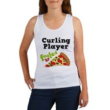 Curling Player Pizza Women's Tank Top