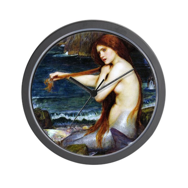 John William Waterhouse Mermaid Wall Clock by iloveyou1